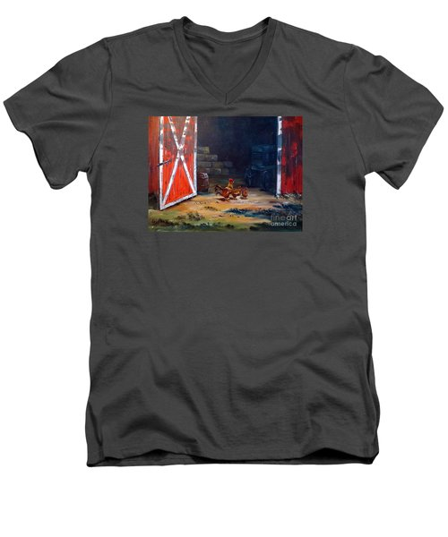 Men's V-Neck T-Shirt featuring the painting Down On The Farm by Lee Piper