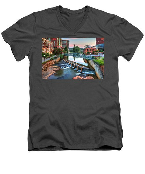 Downtown Greenville On The River Men's V-Neck T-Shirt