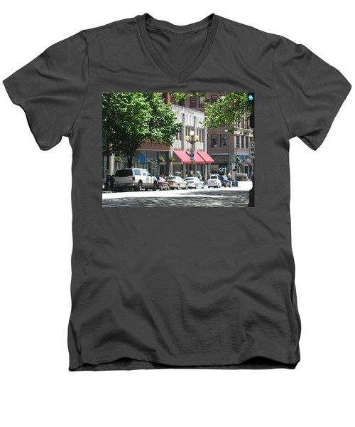 Downtown Neighborhood Men's V-Neck T-Shirt by David Trotter