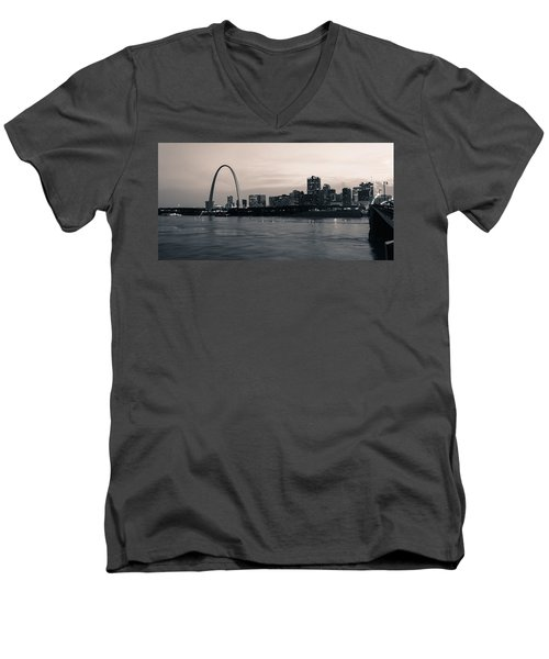 Downtown St. Louis In Twilight Men's V-Neck T-Shirt