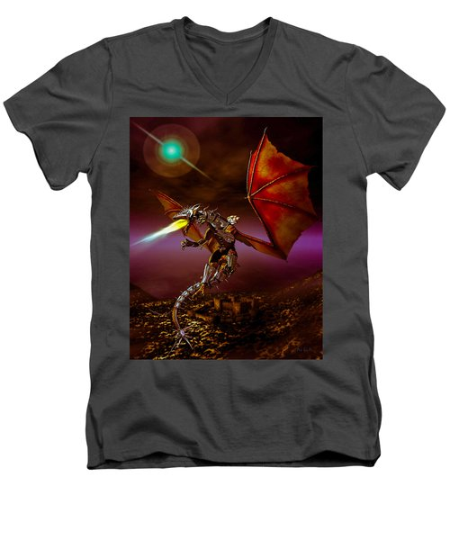 Dragon Rider Men's V-Neck T-Shirt by Bob Orsillo