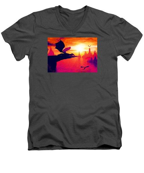 Awesome Dragon Men's V-Neck T-Shirt