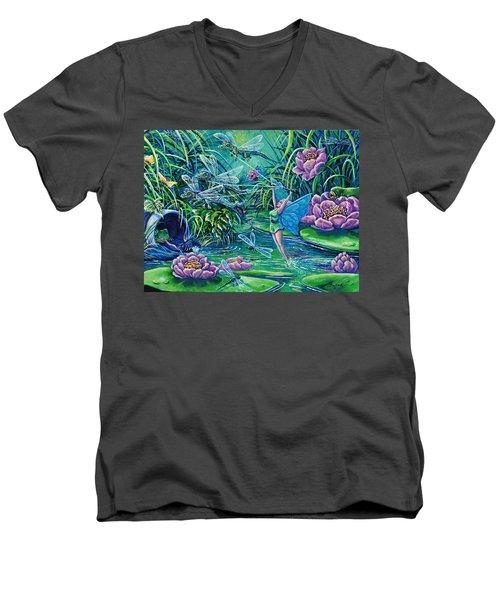 Dragonflies Men's V-Neck T-Shirt by Gail Butler