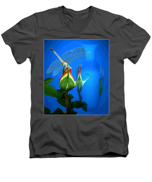 Men's V-Neck T-Shirt featuring the photograph Dragonfly And Bud On Blue by Joyce Dickens