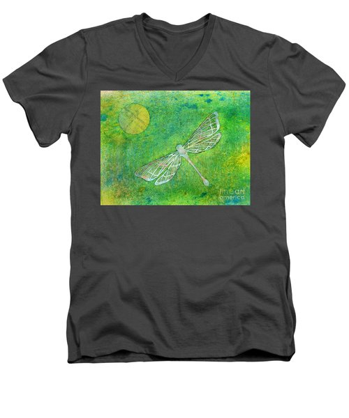Dragonfly Men's V-Neck T-Shirt by Desiree Paquette