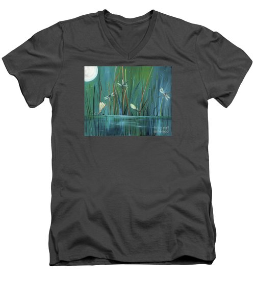 Men's V-Neck T-Shirt featuring the painting Dragonfly Diner by Carol Sweetwood