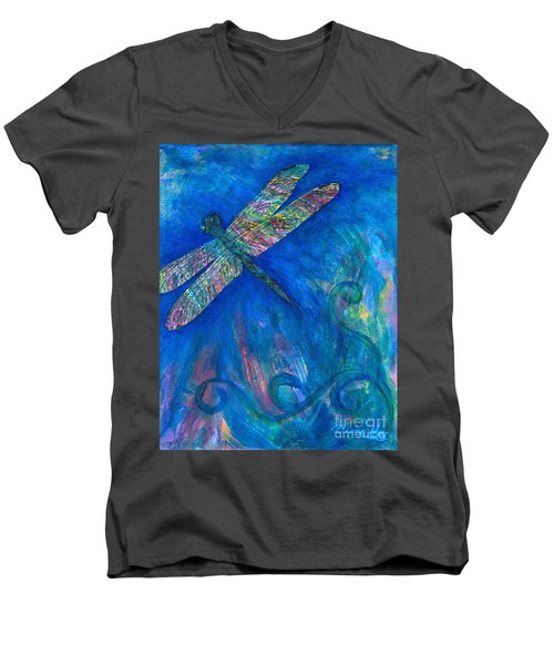 Dragonfly Flying High Men's V-Neck T-Shirt by Denise Hoag