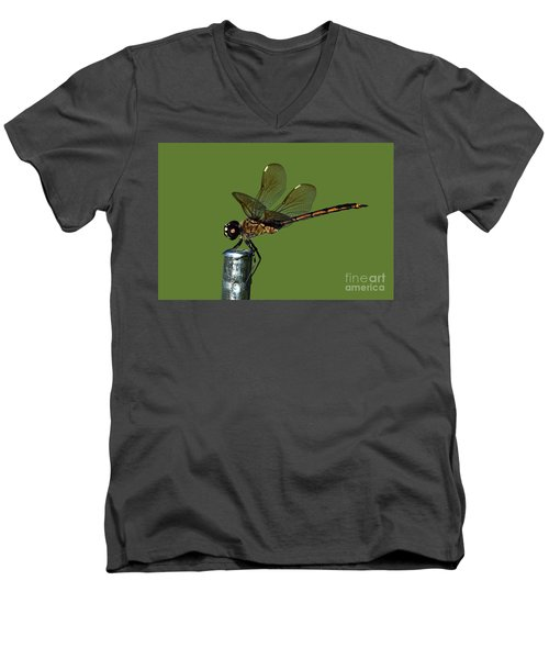 Men's V-Neck T-Shirt featuring the photograph Dragonfly by Meg Rousher