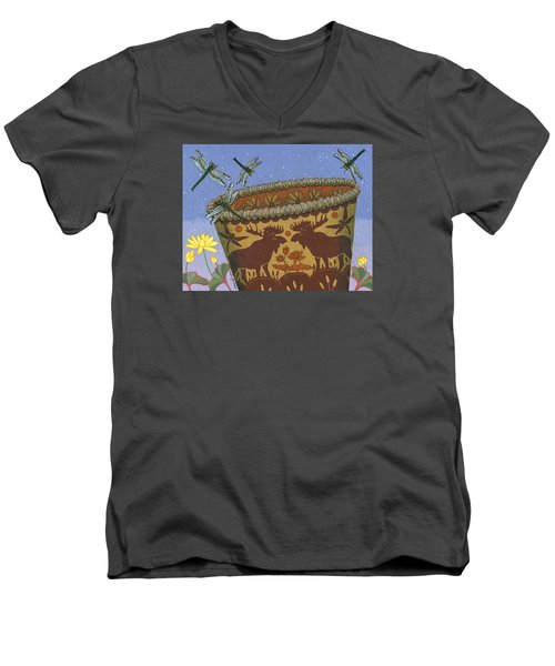 Men's V-Neck T-Shirt featuring the painting Dragonfly - Cohkanapises by Chholing Taha