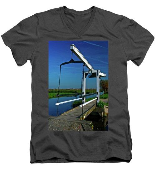 Men's V-Neck T-Shirt featuring the photograph Drawbridge At Zaanse Schans by Jonah  Anderson