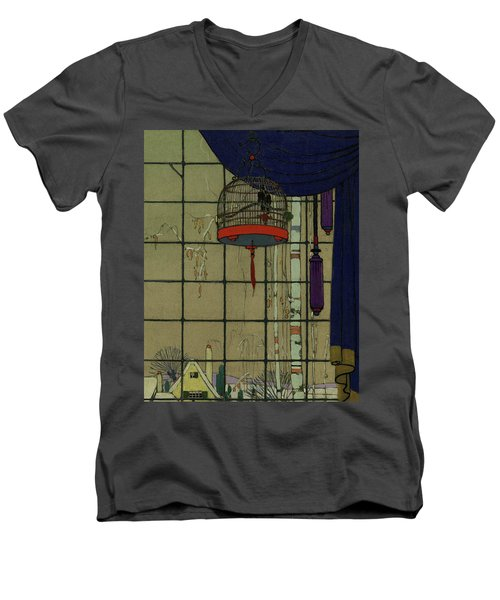 Drawing Of A Bid In A Cage In Front Of A Window Men's V-Neck T-Shirt