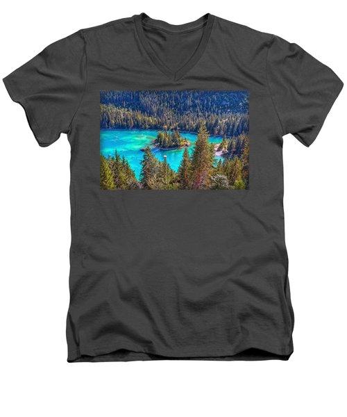 Dream Lake Men's V-Neck T-Shirt by Hanny Heim