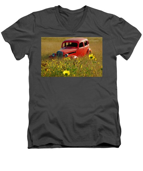 Men's V-Neck T-Shirt featuring the photograph Dream Left Behind by Leticia Latocki
