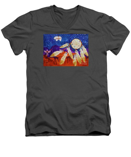 Dreamcatcher Over The Mesas Men's V-Neck T-Shirt by Ellen Levinson