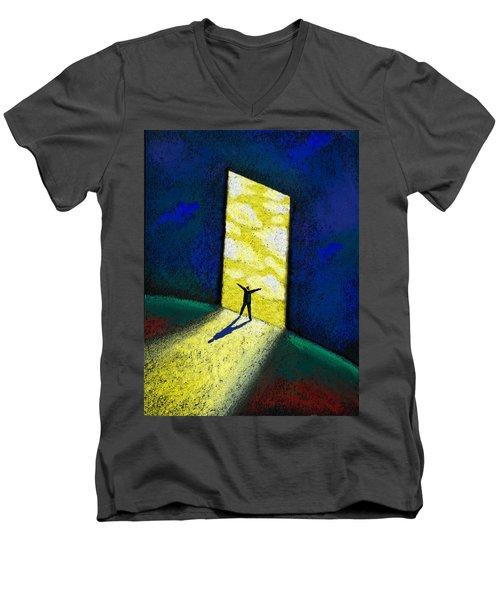 Discovery Men's V-Neck T-Shirt by Leon Zernitsky