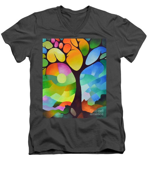 Dreaming Tree Men's V-Neck T-Shirt by Sally Trace