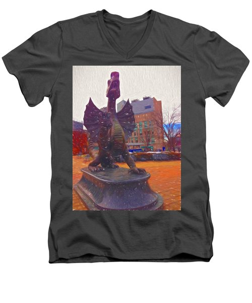 Men's V-Neck T-Shirt featuring the photograph Drexel Dragon Colored by Alice Gipson