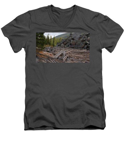 Driftwood And Rock Men's V-Neck T-Shirt by Cheryl Miller