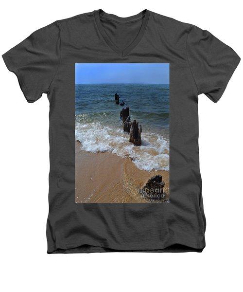 Driftwood And Sea Foam Beach Men's V-Neck T-Shirt