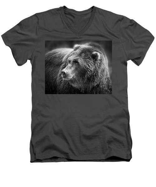 Drinking Grizzly Bear Black And White Men's V-Neck T-Shirt by Steve McKinzie