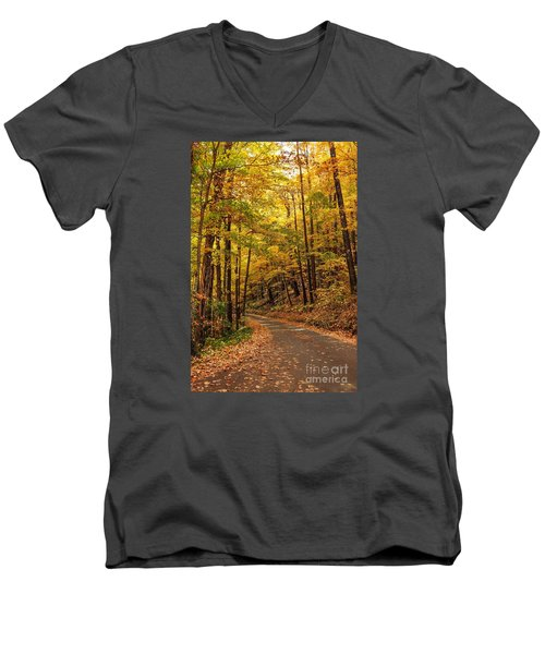 Men's V-Neck T-Shirt featuring the photograph Driving Fall Mountain Roads. by Debbie Green