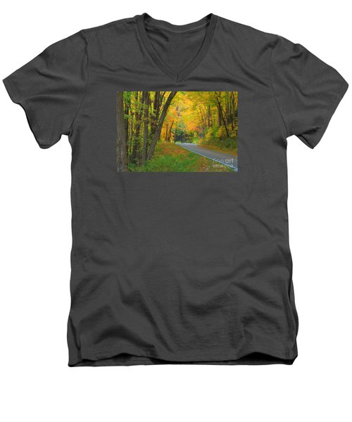 Men's V-Neck T-Shirt featuring the photograph Driving Into Fall by Geraldine DeBoer