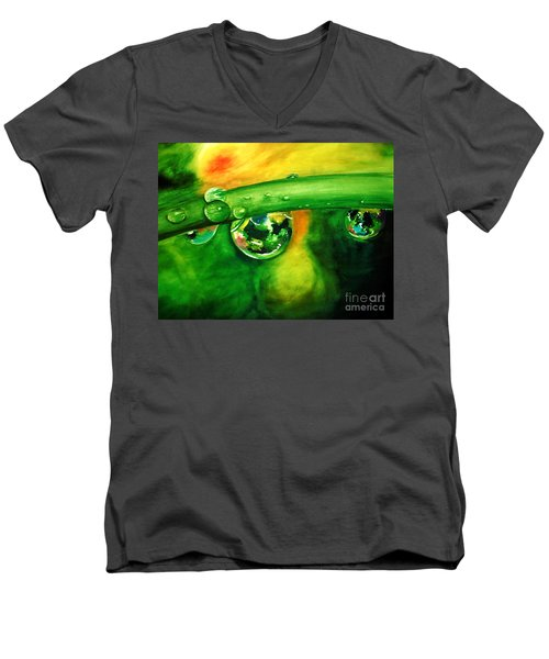 Men's V-Neck T-Shirt featuring the painting Droplets by Allison Ashton