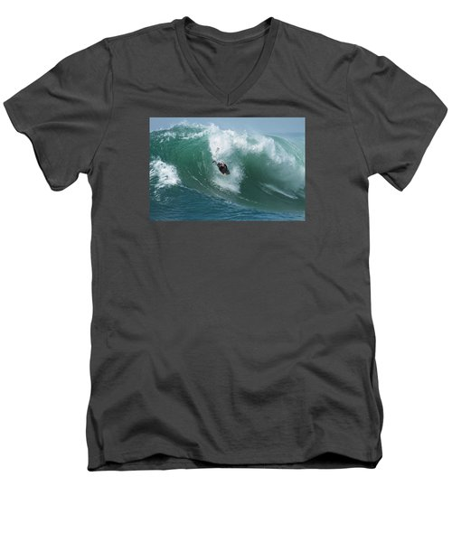 Dropping In Men's V-Neck T-Shirt by Duncan Selby