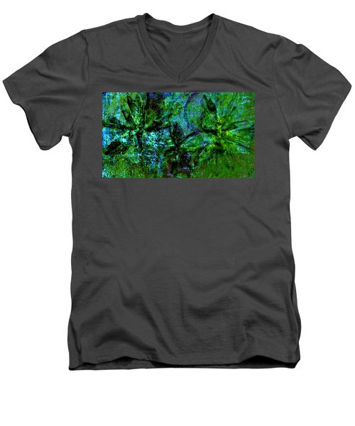 Men's V-Neck T-Shirt featuring the mixed media Drowning by Ally  White