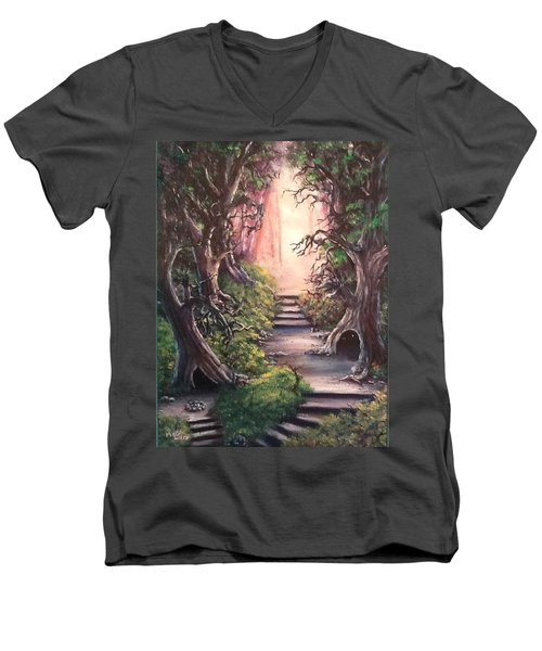 Men's V-Neck T-Shirt featuring the painting Druid's Walk by Megan Walsh