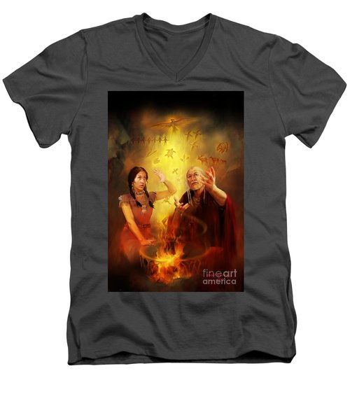 Men's V-Neck T-Shirt featuring the painting Drum Story Elders Teaching by Rob Corsetti