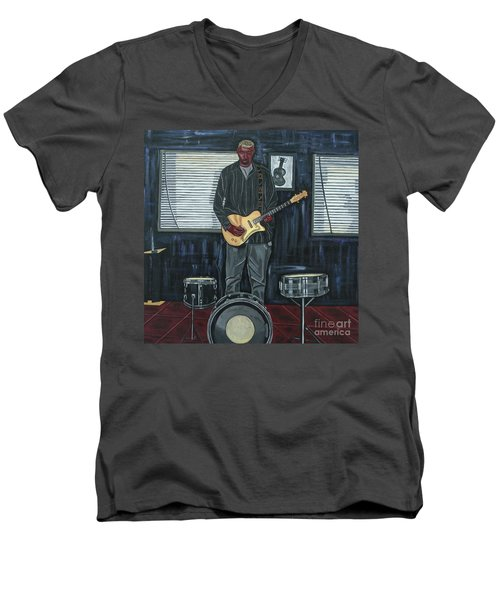 Drums And Wires Men's V-Neck T-Shirt by Sandra Marie Adams