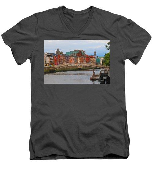 Dublin On The River Liffey Men's V-Neck T-Shirt