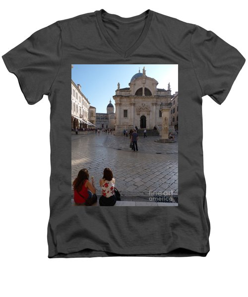 Dubrovnik - Time To Relax Men's V-Neck T-Shirt by Phil Banks