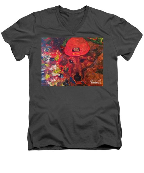 Men's V-Neck T-Shirt featuring the painting Alameda Radar  by Linda Weinstock