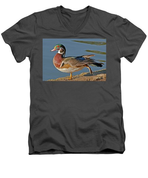 Men's V-Neck T-Shirt featuring the photograph Duck Yoga by Kate Brown