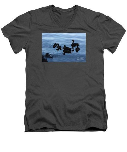 Ducks At Dusk Men's V-Neck T-Shirt