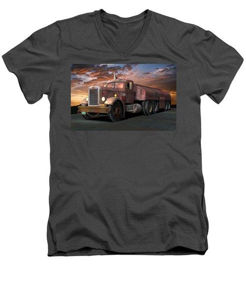 Duel Truck With Trailer Men's V-Neck T-Shirt by Stuart Swartz