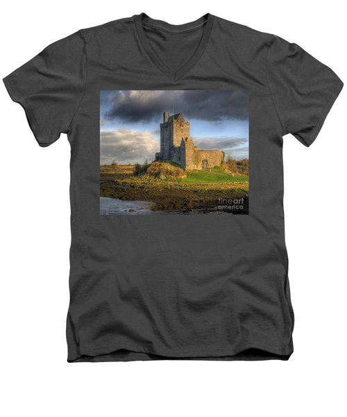 Dunguaire Castle With Dramatic Sky Kinvara Galway Ireland Men's V-Neck T-Shirt by Juli Scalzi