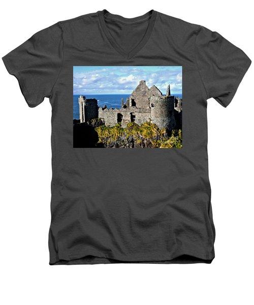 Dunluce Castle Men's V-Neck T-Shirt by Nina Ficur Feenan
