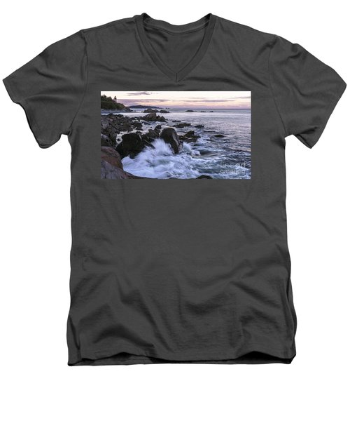 Dusk At West Quoddy Head Light Men's V-Neck T-Shirt