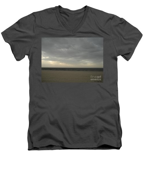 Dusk Beach Walk  Men's V-Neck T-Shirt by Joseph Baril