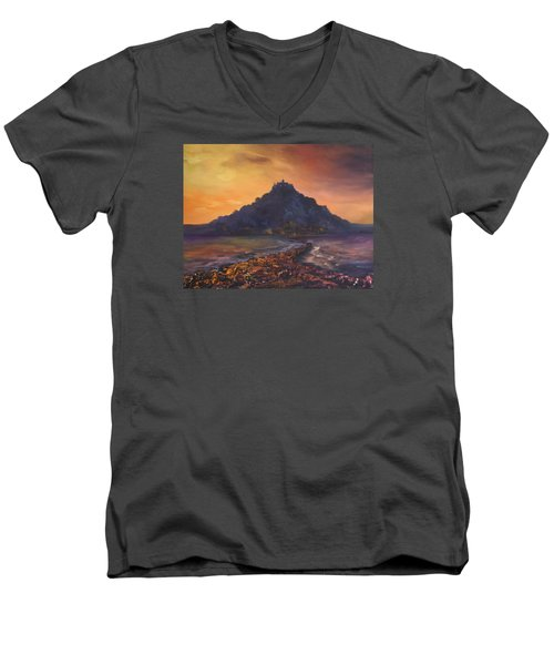 Men's V-Neck T-Shirt featuring the painting Dusk Over St Michaels Mount Cornwall by Jean Walker