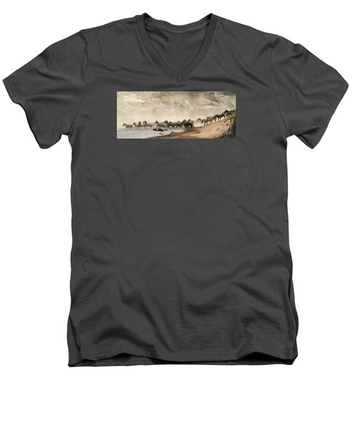 Men's V-Neck T-Shirt featuring the photograph Dusty Crossing by Liz Leyden