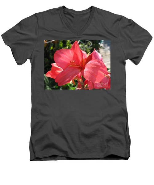 Men's V-Neck T-Shirt featuring the photograph Dwarf Canna Lily Named Shining Pink by J McCombie