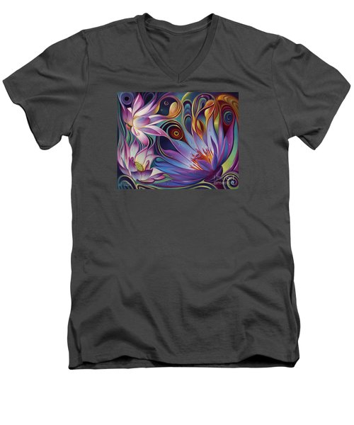 Dynamic Floral Fantasy Men's V-Neck T-Shirt
