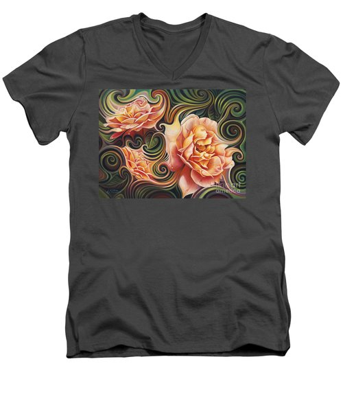 Dynamic Floral V  Roses Men's V-Neck T-Shirt