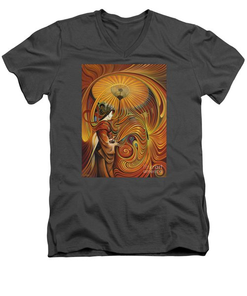Dynamic Oriental Men's V-Neck T-Shirt