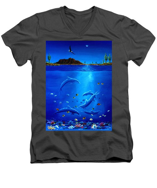 Men's V-Neck T-Shirt featuring the painting Eagle Over Dolphins by Lance Headlee