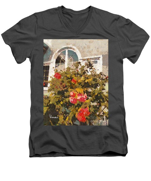 Men's V-Neck T-Shirt featuring the photograph Alameda Roses by Linda Weinstock